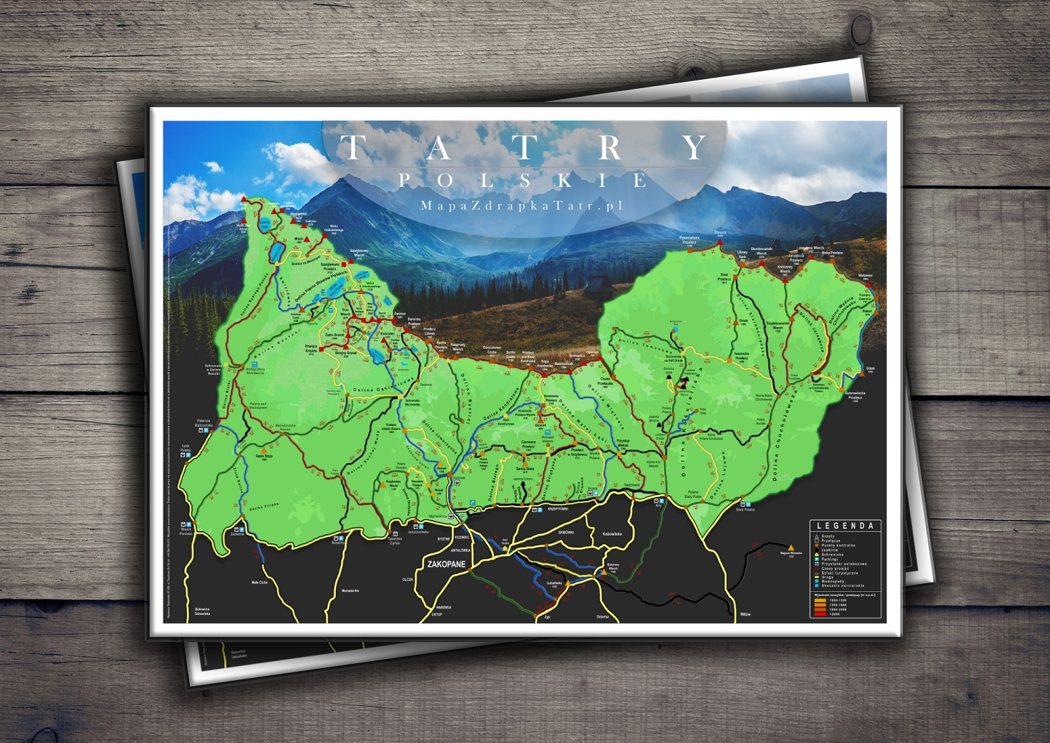 Scratch Map - Polish Tatra Mountains