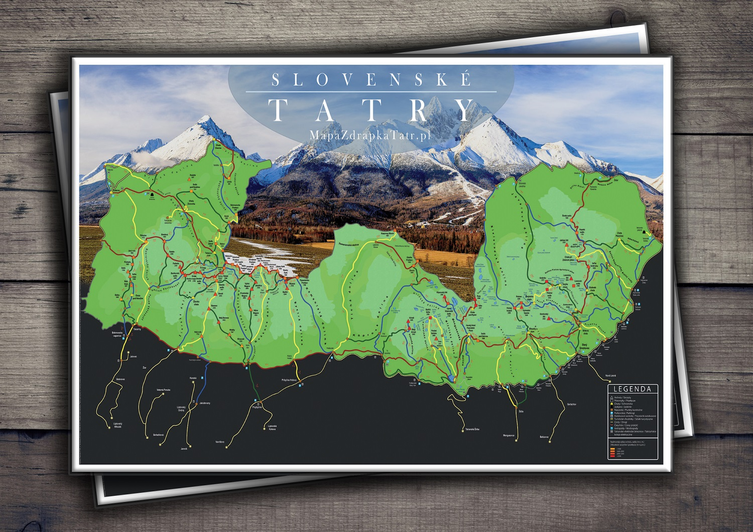 Scratch Map - Slovakian Tatra Mountains
